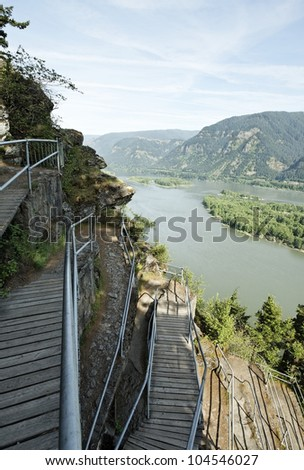 Scenic overlook of the Columbia River Gorge, Pacific Northwest, USA - an Oregon and Washington natural landscape and protected natural park preserve - stock photo