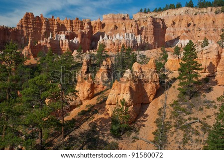 Scenic overview of Bryce Canyon National Park - stock photo