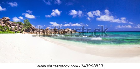 scenic panorama of Grand anse in La Digue island, Seycheles - stock photo