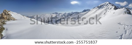 Scenic panorama of snow covered Kackar Mountains in Turkey - stock photo