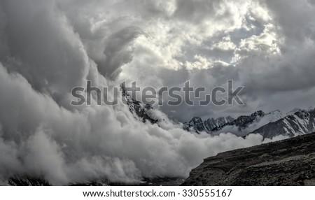 Scenic panorama valley in Himalayas near Kanchenjunga in Nepal - stock photo
