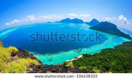 Scenic panoramic top view of Tun Sakaran Marine Park tropical island Semporna, Sabah. - stock photo