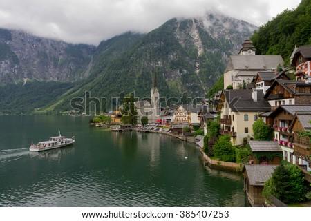 Scenic panoramic view of famous Hallstatt mountain village with Hallstatter See, Tirol, Austria. Hallstatt village. Mountain village, Hallstatt, Austria. Beautiful mountain lake, Hallstatt, Austria. - stock photo