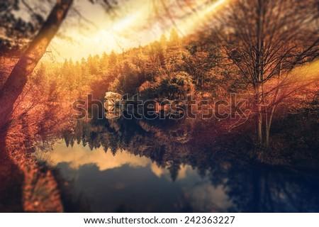 Scenic Park and Lake Sunset in Idyllwild Mountains. California, USA. - stock photo