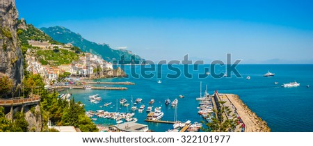 Scenic picture-postcard view of the beautiful town of Amalfi at famous Amalfi Coast with Gulf of Salerno, Campania, Italy - stock photo