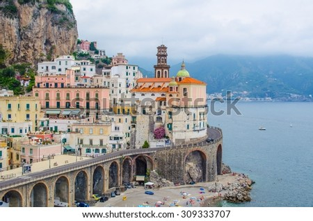 Scenic picture-postcard view of the beautiful town of Atrani at famous Amalfi Coast with Gulf of Salerno, Campania, Italy - stock photo