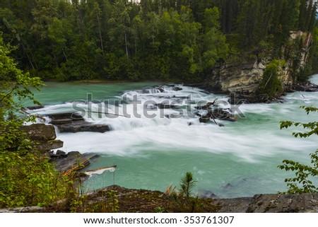 Scenic Rearguard Falls in Autumn, Jasper National Park Alberta Canada - stock photo