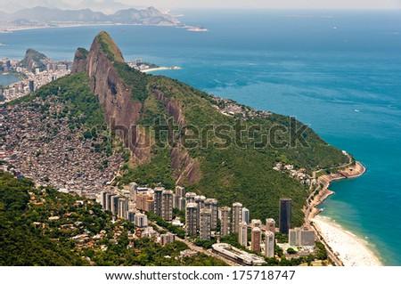 Scenic Rio de Janeiro Aerial View with Ocean, Mountains, Urban Areas - stock photo
