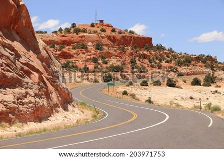 Scenic road in Utah, USA - stock photo