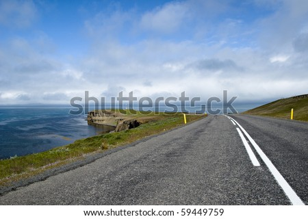 Scenic road on Iceland on beautiful weather - stock photo