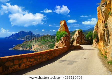 scenic roads of Corsica - stock photo