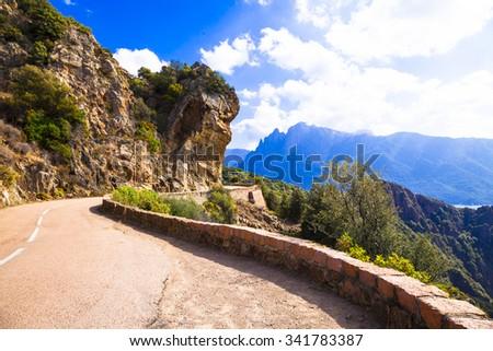 scenic roads of Corsica island - stock photo