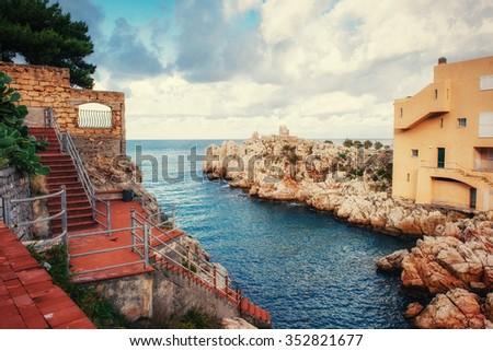 Scenic rocky coastline Cape Milazzo. Sicily, Italy. - stock photo