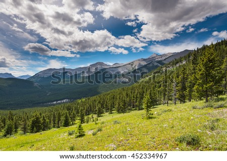 Scenic Rocky Mountain views, Hiking Nihahi Ridge Kananaskis Country Alberta Canada - stock photo