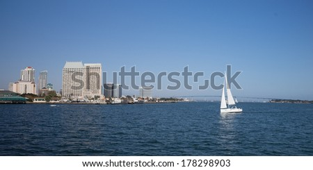 Scenic San Diego Bay and tall buildings downtown - stock photo