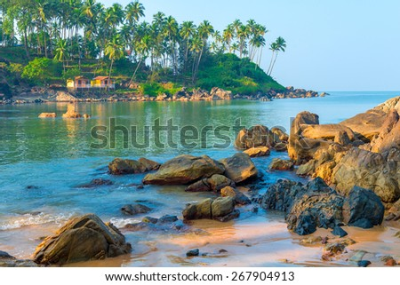 scenic seascape. Large boulders and tall palm trees on the shore - stock photo