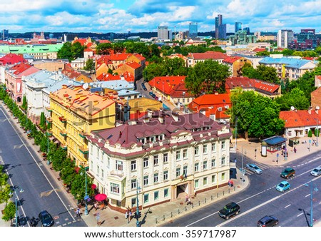 Scenic summer aerial view of the Old Town architecture buildings in Vilnius, Lithuania - stock photo