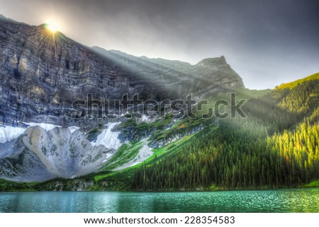 Scenic summer mountain landscapes of Rawson Lake, Peter Lougheed Provincial Park Kananaskis Country Alberta Canada - stock photo