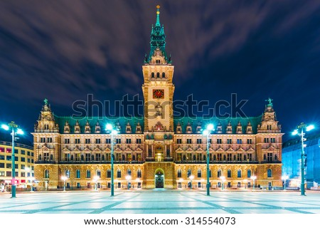 Scenic summer night view of illuminated City Hall Square in Hamburg, Germany - stock photo