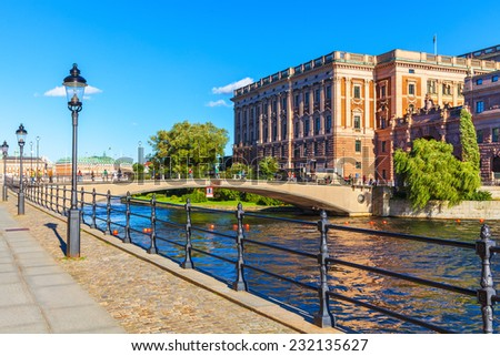 Scenic summer panorama of the Old Town (Gamla Stan) pier architecture in Stockholm, Sweden - stock photo