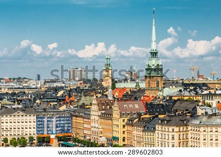Scenic Summer View Of Old Town In Stockholm, Sweden - stock photo