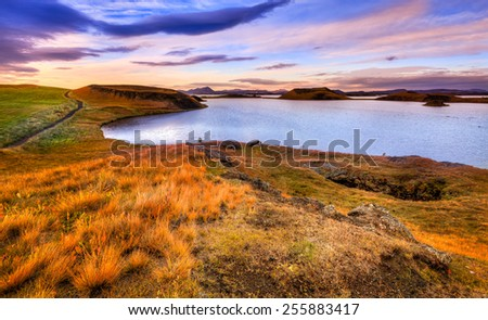 Scenic sunset at Lake Myvatn in Northern Iceland - stock photo