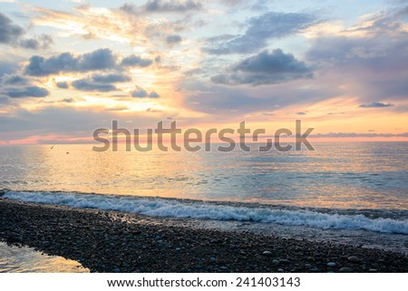 Scenic sunset over the Black Sea - stock photo