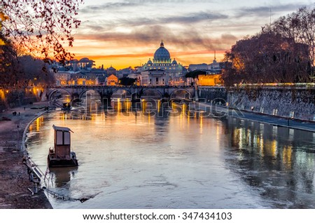 Scenic sunset over the Vatican City and Tevere River in Rome, Italy - stock photo