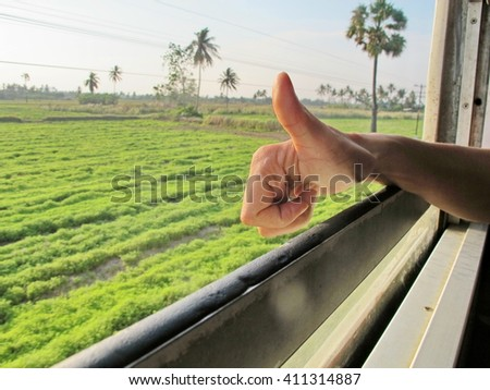 Scenic train window, View from a train window - stock photo