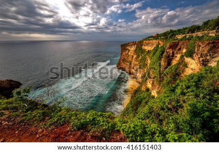 Scenic view at the cliff of Uluwatu Bali, Indonesia - stock photo