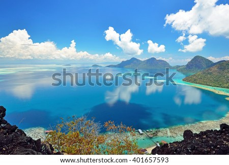 Scenic view from above taken from Bohey Dulang view point in Sabah Borneo, Malaysia. - stock photo