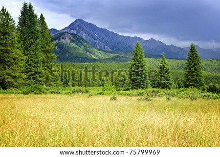 Scenic view from Bow Valley parkway on Rocky mountains in Banff National Park, Alberta Canada - stock photo