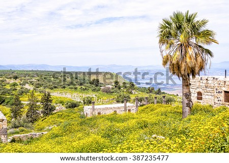 Scenic view from Gadara ruins hilltop in Jordan. The site of the Hellenistic-Roman town of Gadara overlook the Sea of Tiberias, the Golan Heights, and the Yarmouk River gorge. - stock photo