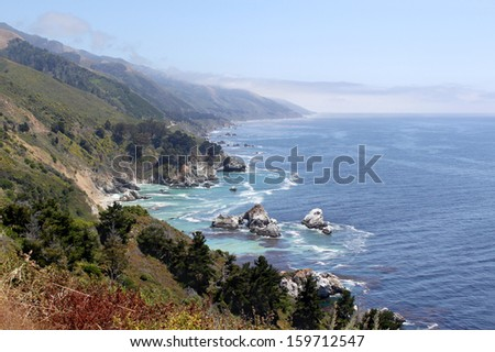 Scenic view from Highway 1, California, USA - stock photo