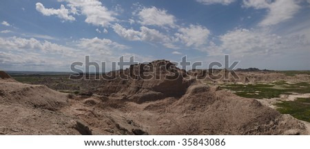 Scenic view from Pinnacles in Badlands National Park, South Dakota - stock photo