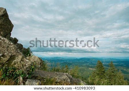 Scenic view from the top of popular Eugene Oregon hiking destination, Spencer's Butte. - stock photo