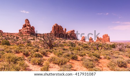 Scenic view in Arches National park in summer season, Utah  - stock photo