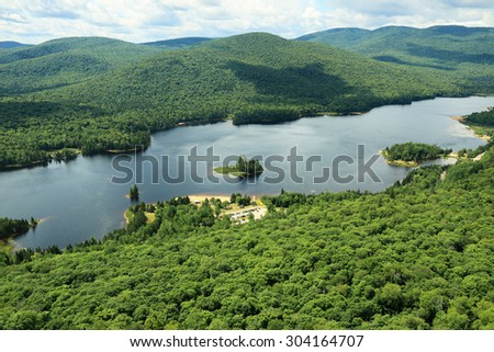 Scenic view in Mont-Tremblant National Park (Parc national du Mont-Tremblant) La Diable sector, Quebec, Canada - stock photo