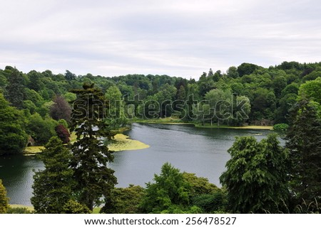 Scenic View of a Lake in the English Countryside - stock photo
