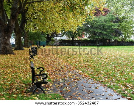 Scenic View of a Pathway through a Beautiful Leafy Public Park in Autumn - stock photo