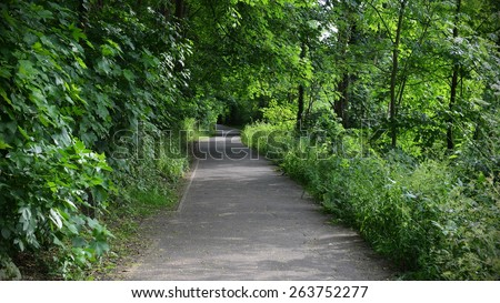 Scenic View of a Pathway through a Peaceful Woodland Park - stock photo