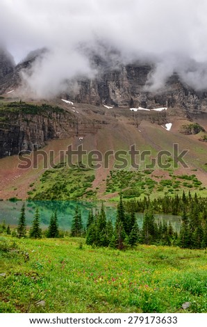 Scenic view of alpine meadow and mountain lake in Glacier NP, Montana, USA - stock photo