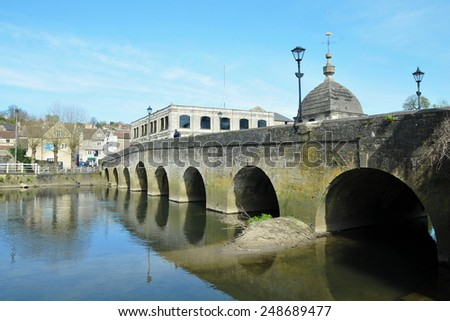 Scenic View of an Old Stone River Bridge in the Historic Bradford on Avon in Wiltshire England - stock photo