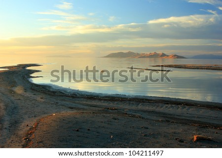 Scenic view of Antelope Island on the Great Salt Lake. - stock photo