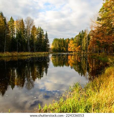 Scenic view of autumn river in sunrise - stock photo