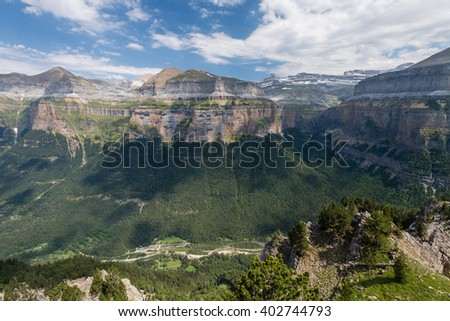 Scenic view of beautiful landscape of famous Ordesa National Park, Pyrenees, Spain. - stock photo
