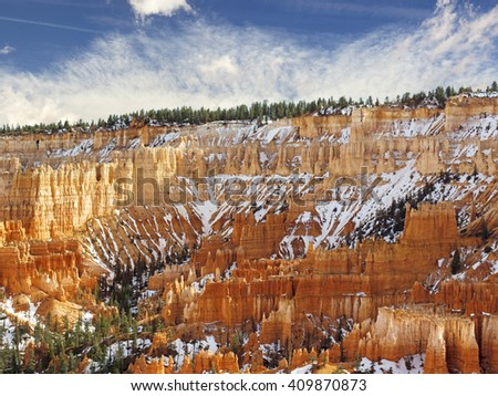 scenic view of colorful pinnacles in the Bryce Canyon - stock photo