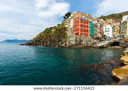 Scenic view of colorful Riomaggiore village, Cinque Terre, Italy - stock photo