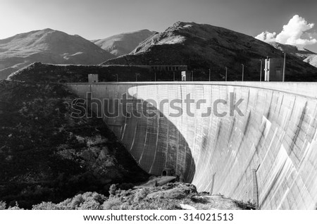 scenic view of dam on Homem river and Peneda-Geres National Park in northern Portugal. - stock photo