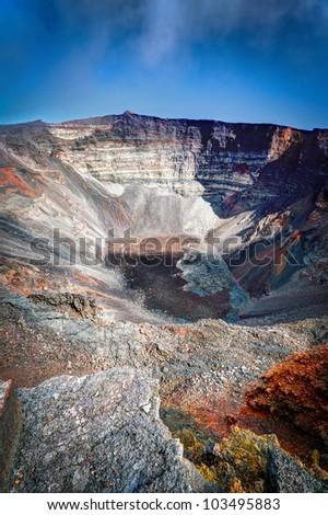 Scenic view of dolomieu crater of the Piton de la Fournaise volcano on Reunion Island. - stock photo